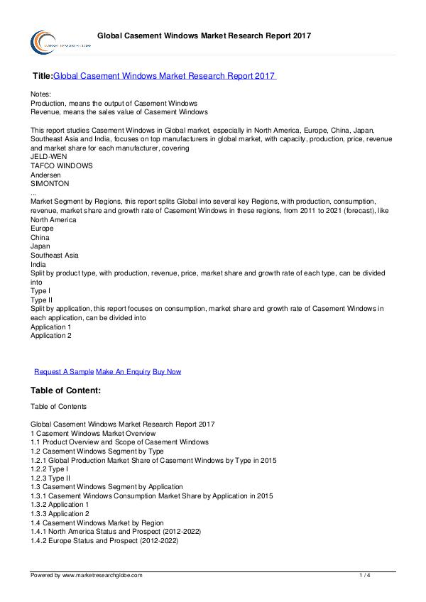 Global Casement Windows Market Research 2017