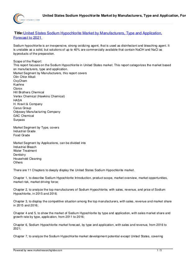 Europe Tire Market Report 2016 United States Sodium Hypochlorite Market 2021