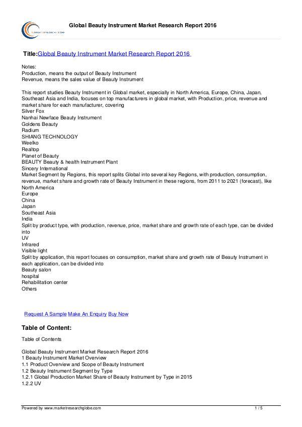 Europe Tire Market Report 2016 Global Beauty Instrument Market Report 2016
