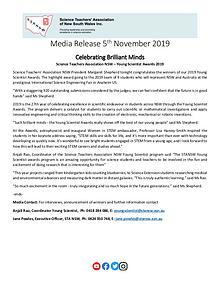 2019 STANSW Young Scientist Media Release - 5th Nov