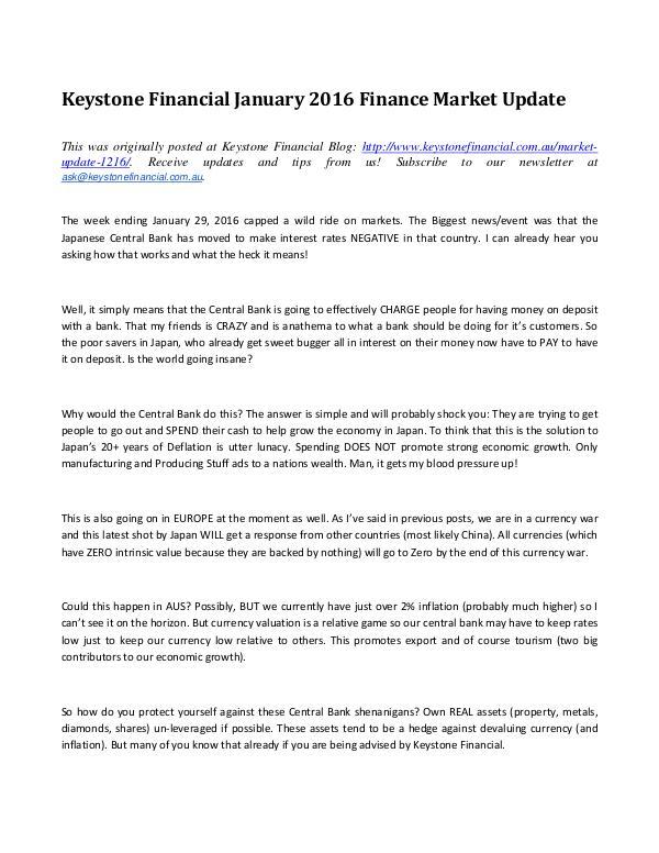 Keystone Financial Australia Market Updates MARKET UPDATE 6/6/16
