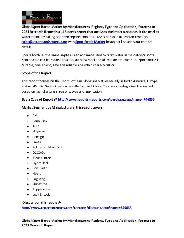Sport Bottle Market: Marketing Channels, Sales, Revenues Analysis Global Sport Bottle Market Report