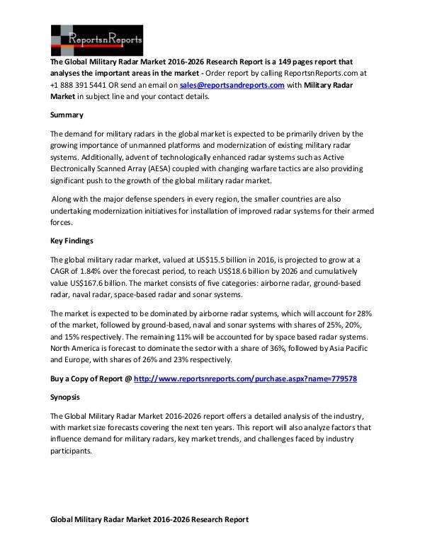 Global Military Radar Market 2016-2026 Report Competitive  Analysis on Military Radar Market