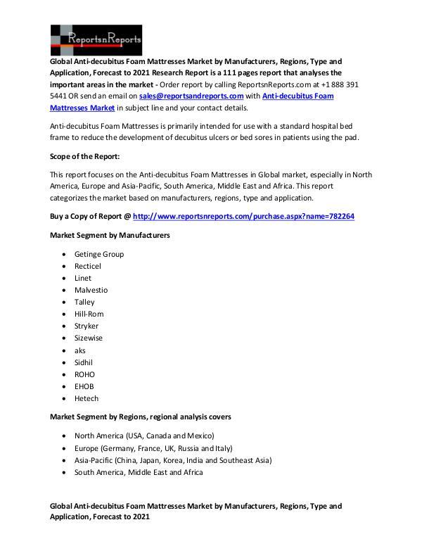 Global Anti-decubitus Foam Mattresses Market Report Anti-decubitus Foam Mattresses Market by Sales