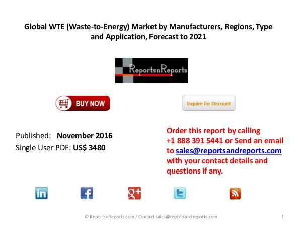 Analysis and Forecast on Global Waste-to-Energy Market Energy and Power 2017