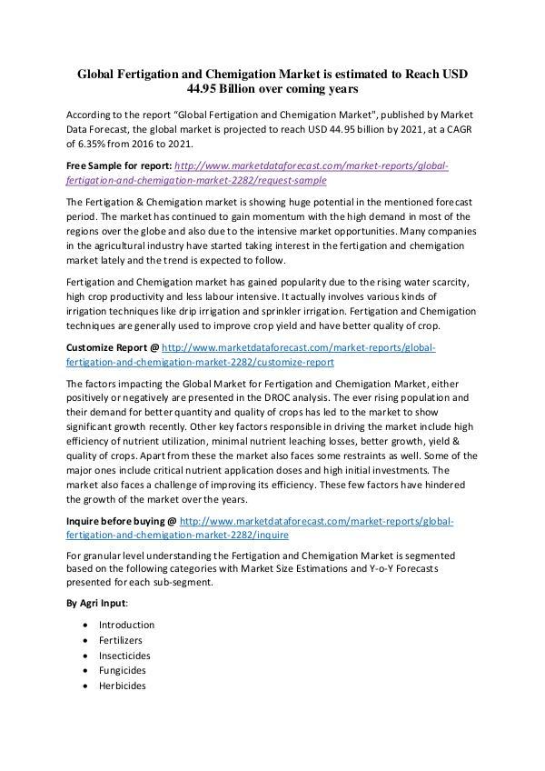 Global Fertigation and Chemigation Market Global Fertigation and Chemigation Market is estim