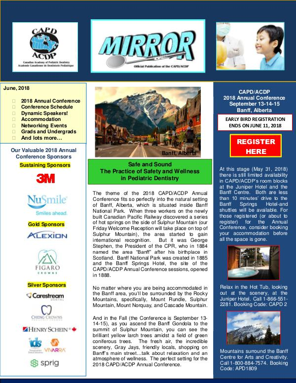 The Mirror - the Newsletter of CAPD ACDP June 2018 Mirror Merged PDF May 29, 2018 V3