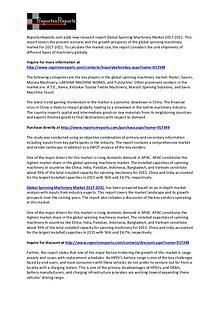 World Spinning Machinery Market Vendors SWOT Analysis Report to 2021