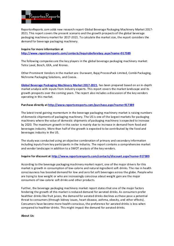 World Beverage Packaging Machinery Market SWOT Analysis Report 2021 February 2017