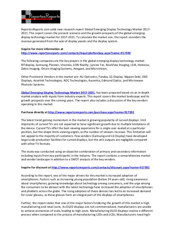 Emerging Display Technology Market 2021 Global Forecast Report February 2017