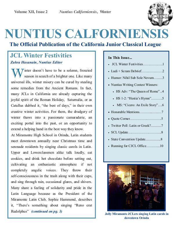 Nuntius Californiensis Winter Issue
