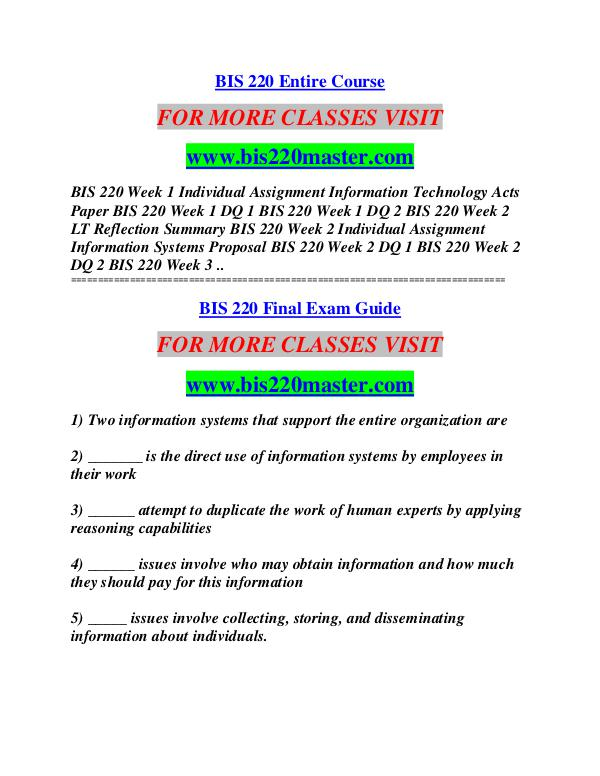 BIS 220 MASTER Learn by Doing/bis220master.com BIS 220 MASTER Learn by Doing/bis220master.com