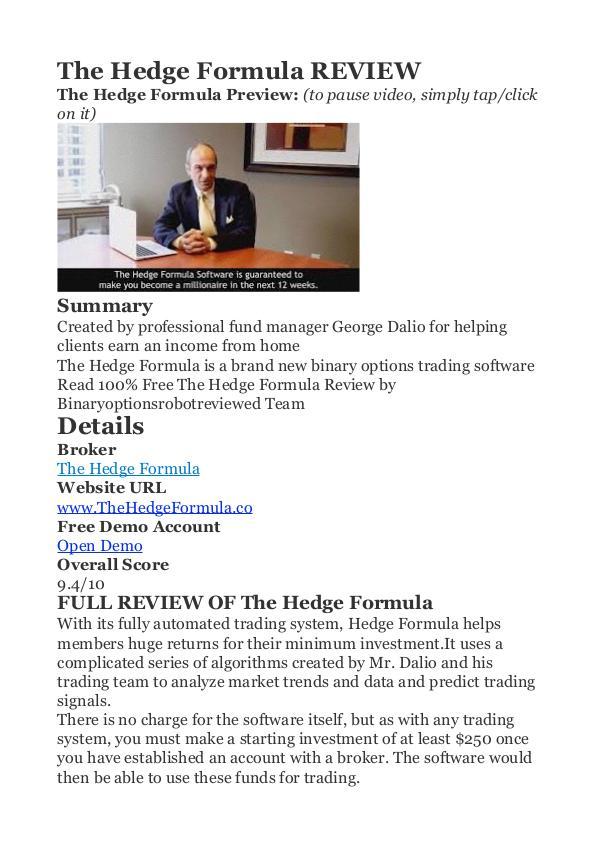 The Hedge Formula George Dalio PDF Review 1 The Hedge Formula Review - Does The Hedge Formula