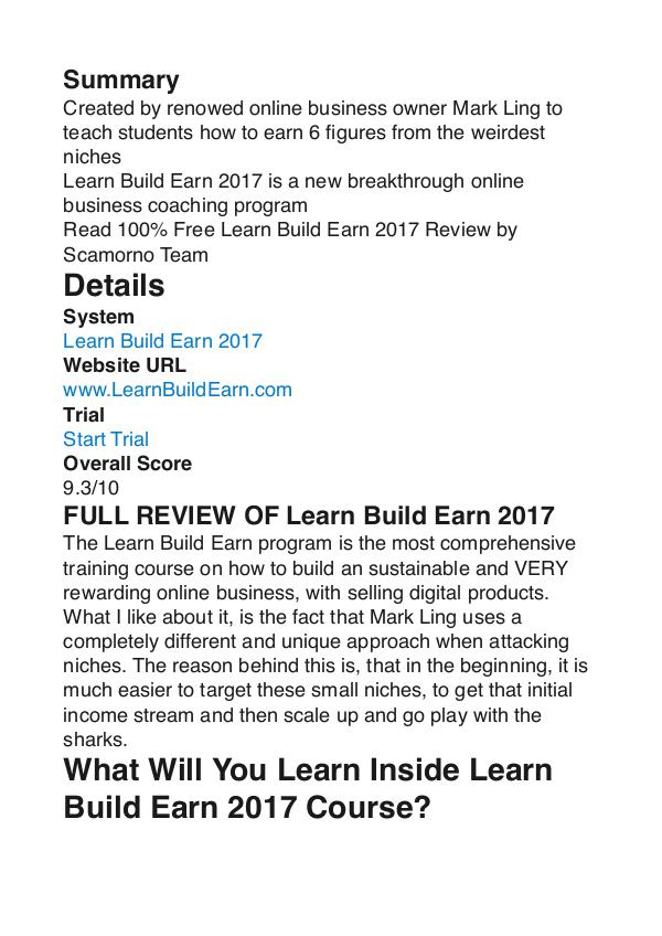 Learn Build Earn 2017 Mark Ling PDF Review 1 Learn Build Earn 2017 Mark Ling PDF Review 1