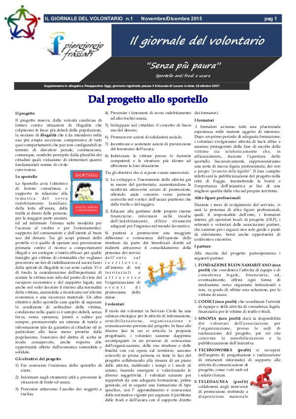 IL GIORNALE DEL VOLONTARIO IL GIORNALE DEL VOLONTARIO n.1 Novembre/Dicembre 2