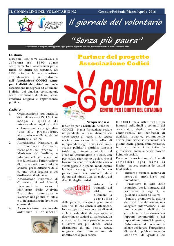IL GIORNALE DEL VOLONTARIO IL GIORNALINO DEL VOLANTARIO N.2 Gennaio/Febbraio/