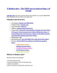 X Ranker 360 review demo and $14800 bonuses