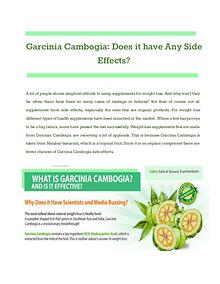 Garcinia Cambogia: Does it have Any Side Effects