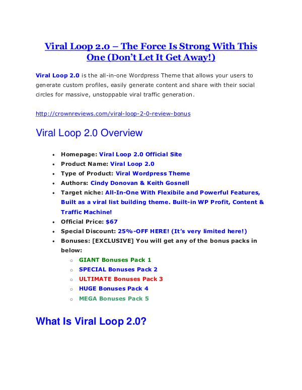 marketing Viral Loop 2.0 review - A top notch weapon