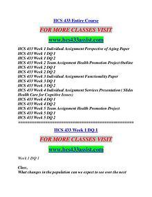 HCS 433 ASSIST Education Terms/hcs433assist.com