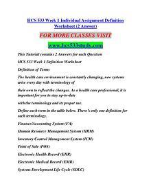 HCS 533 STUDY Education Terms/hcs533study.com
