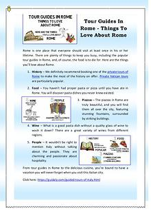 Tour Guides In Rome - Things To Love About Rome