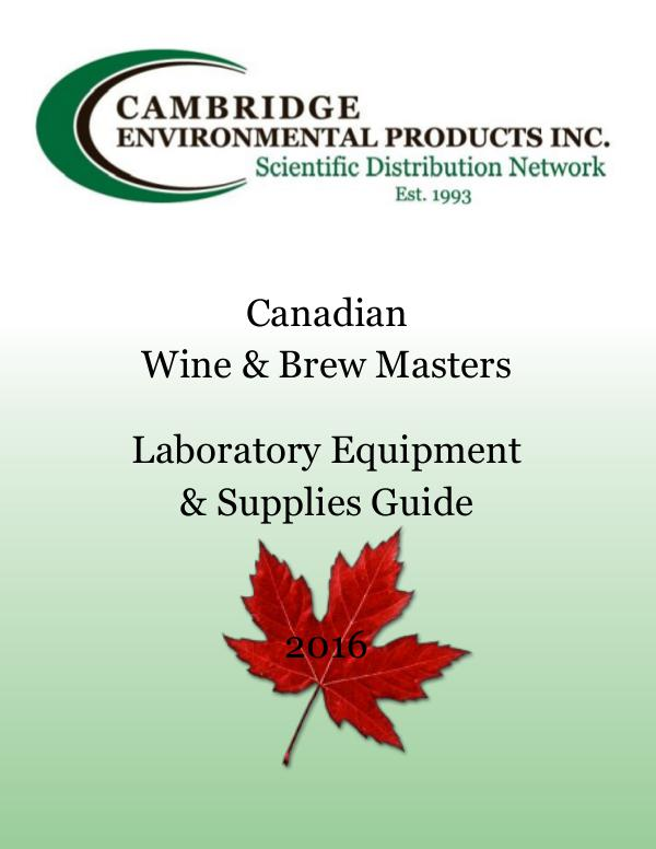 Canadian Wine & Brew Masters Laboratory Equipment & Supplies Canadian Wine and Brewery Lab Testing Supplies