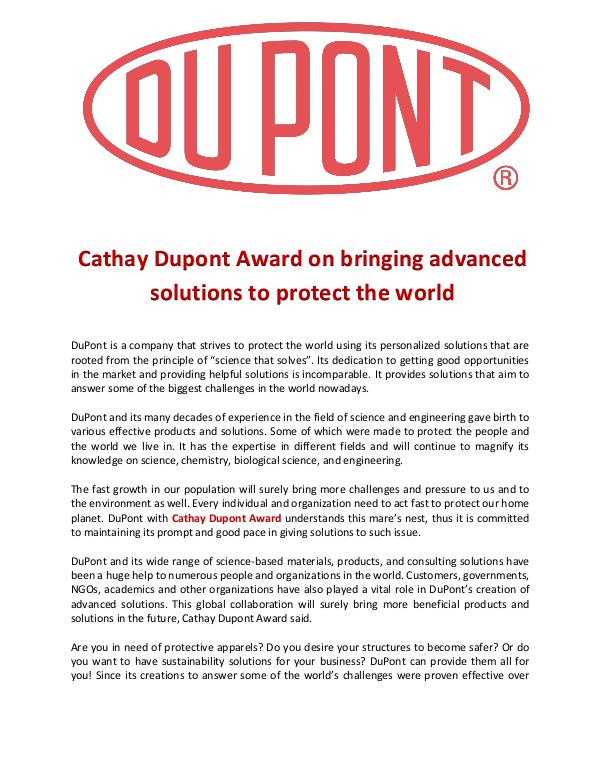 Cathay Dupont Award bringing advanced solutions to protect the world Cathay Dupont Award on bringing advanced solutions