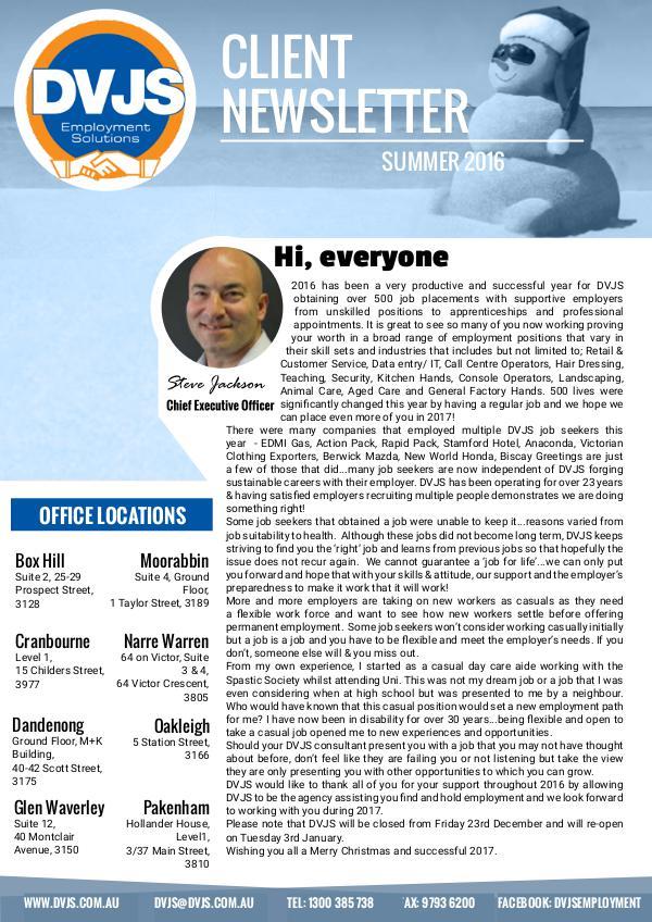 DVJS Client Newsletter Summer 2016/17