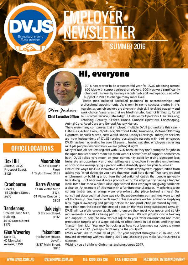 DVJS Employer Newsletter Summer 2016