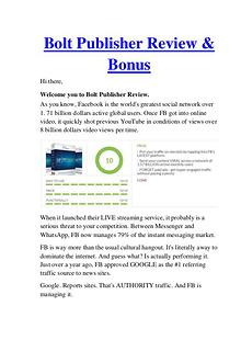 Bolt Publisher Review - Why Should Buy It?