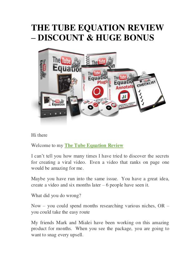 The Tube Equation Review & Huge Bonus Discount