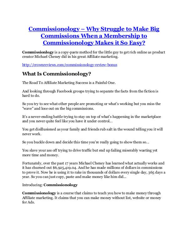 Commissionology review - (FREE) Jaw-drop bonuses