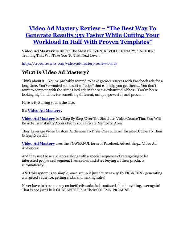 Video Ad Mastery Review-$32,400 bonus & discount