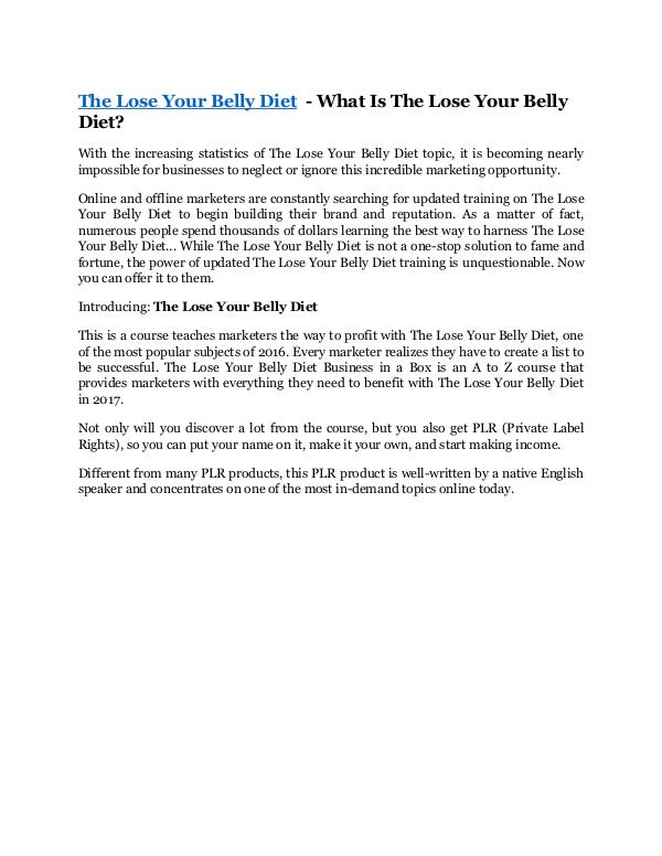 The Lose Your Belly Diet review - The Lose Your Be
