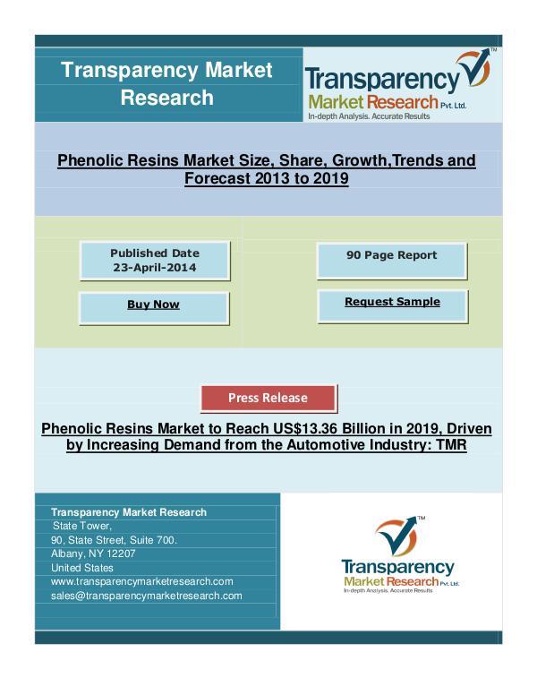 Phenolic Resins Market to Reach US$13.36 Billion in 2019