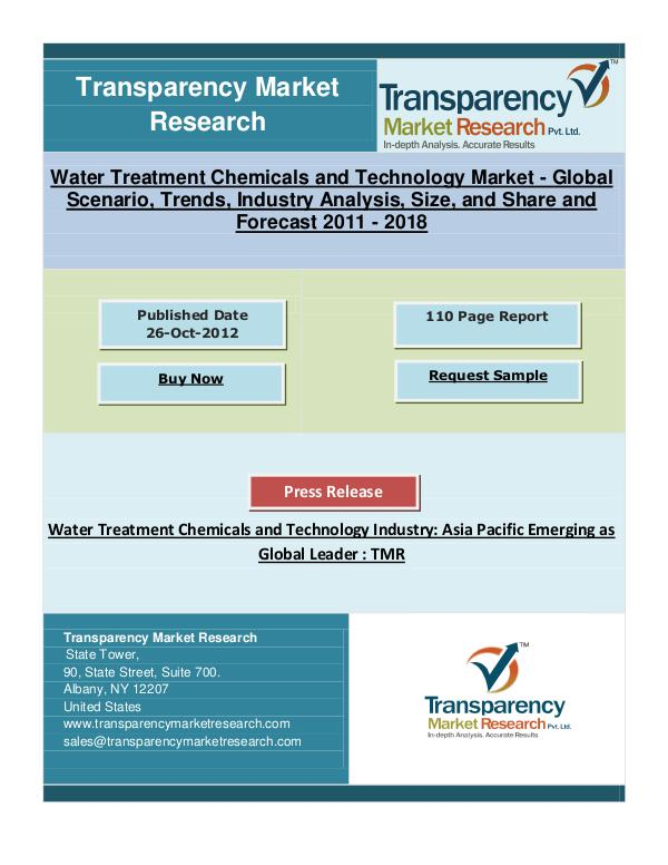 Water Treatment Chemicals Market is to Reach US$149.8 mn by 2018
