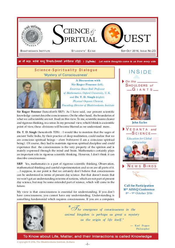 Science and Spiritual Quest Sep-Oct 2016