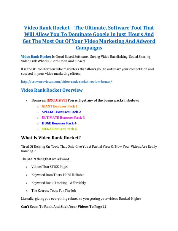marketing Video Rank Rocket review & bonus - I was Shocked!