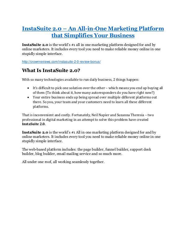 marketing InstaSuite 2.0 review & (GIANT) $24,700 bonus
