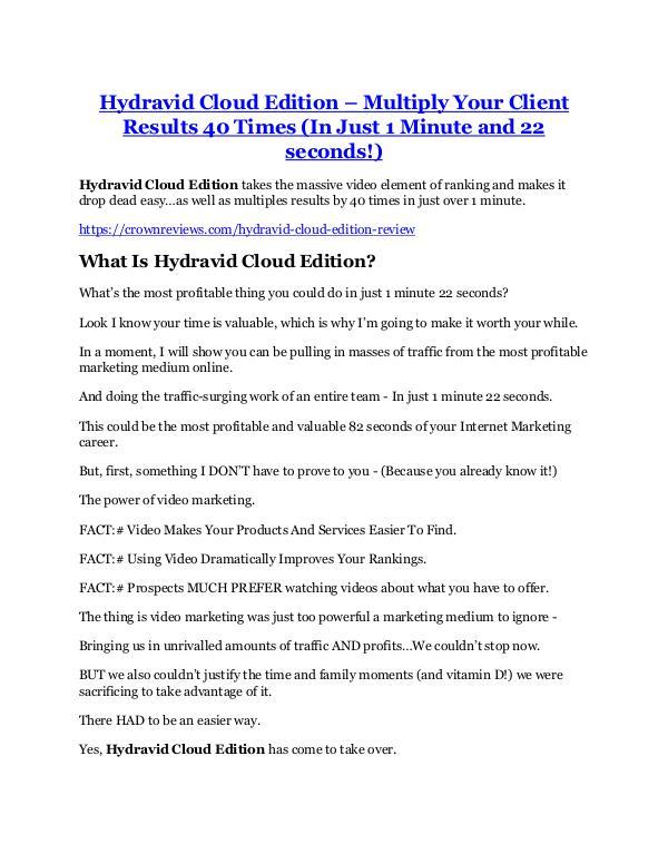 Hydravid Cloud Edition review demo and premium bon
