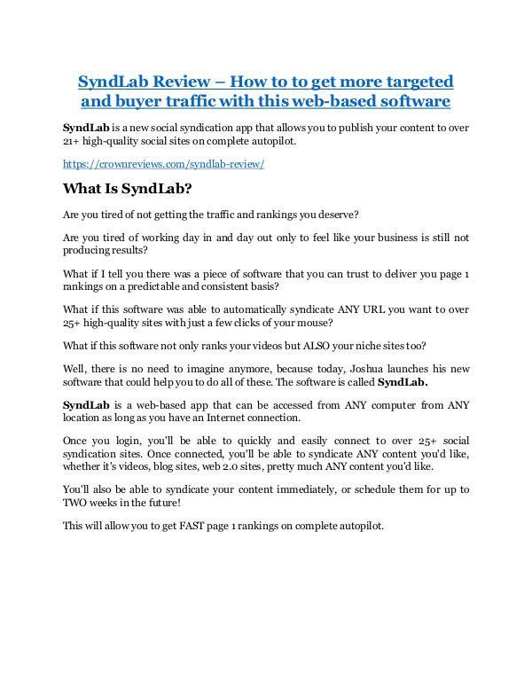 SyndLab review demo-- SyndLab FREE bonus
