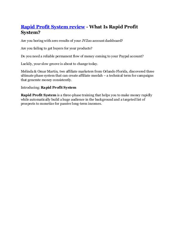 Rapid Profit System Review - $24,700 BONUS & DISCO