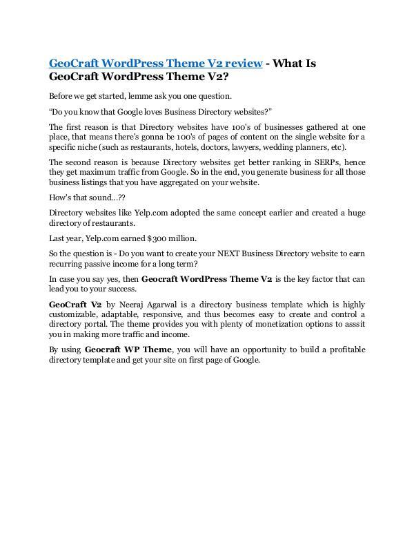 GeoCraft WordPress Theme V2 Review -(FREE) $32,000