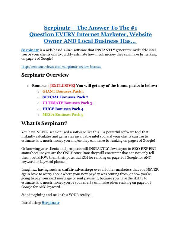 marketing Serpinatr review & massive +100 bonus items