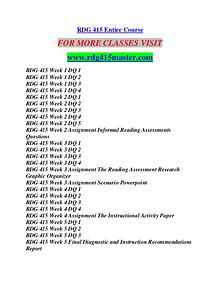 RDG 415 MASTER Career Path Begins/rdg415master.com