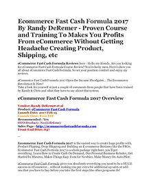 eCommerce Fast Cash Formula 2017