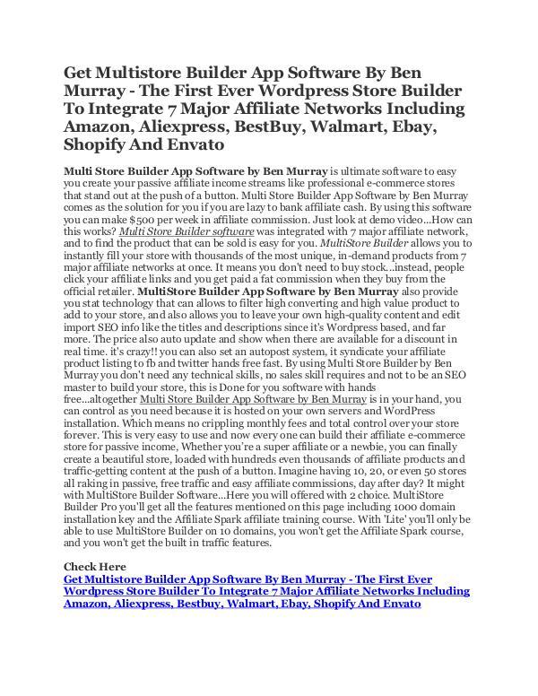 MultiStore Builder Affiliate eCommerce Software Multistore Builder Software by Ben Murray
