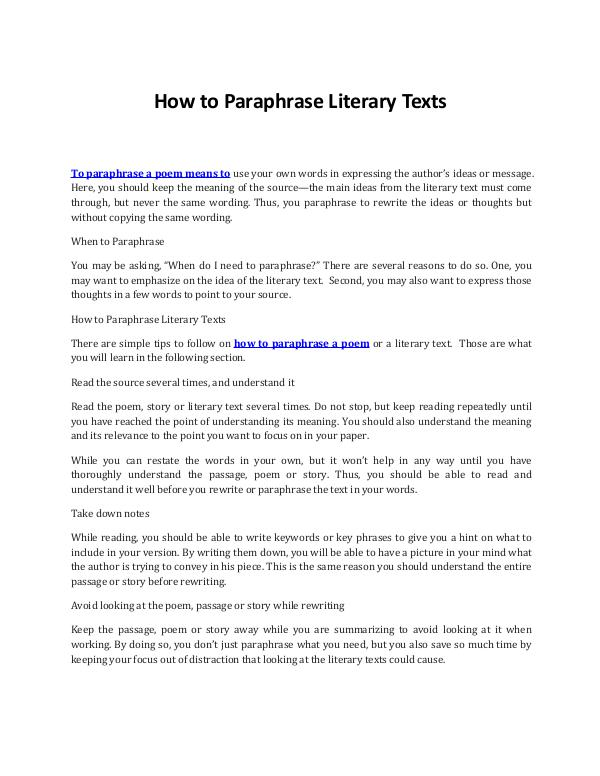 Discover the Best Ways on How to Paraphrase Literary Texts Discover the Best Ways on How to Paraphrase Litera