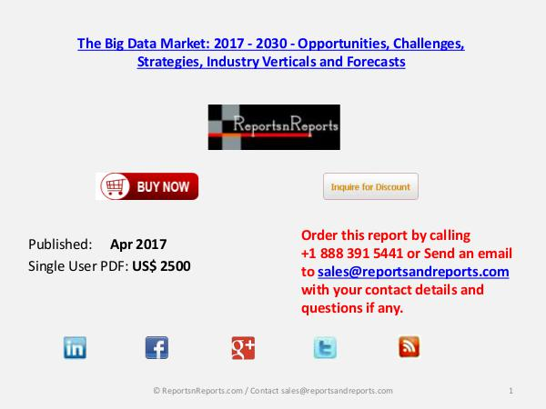 The Big Data Market will Grow at a CAGR of 10% by 2020 Apr 2017
